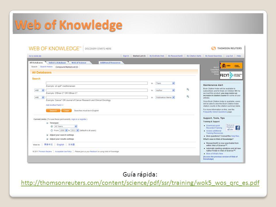 Web of Knowledge Guía rápida: http://thomsonreuters.com/content/science/pdf/ssr/training/wok5_wos_qrc_es.pdf.