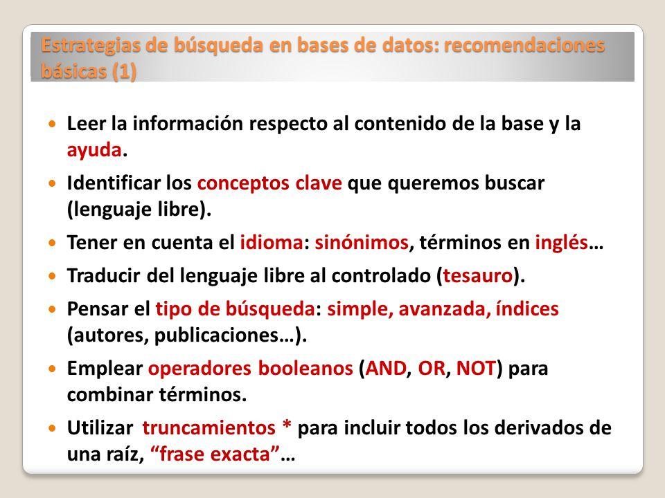 Estrategias de búsqueda en bases de datos: recomendaciones básicas (1)