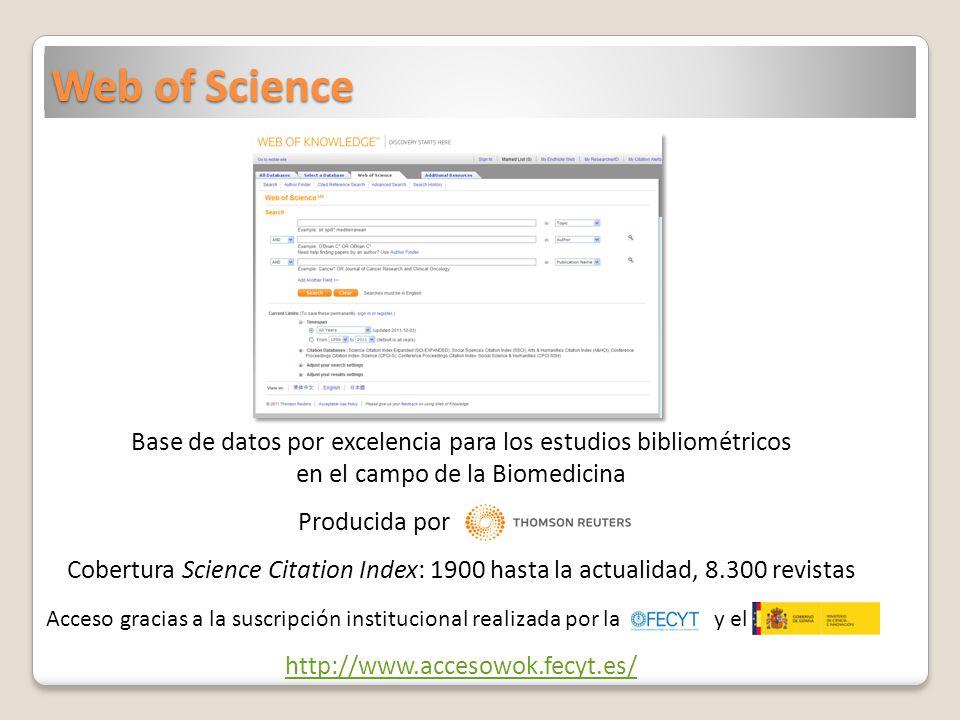 Web of Science Base de datos por excelencia para los estudios bibliométricos en el campo de la Biomedicina.