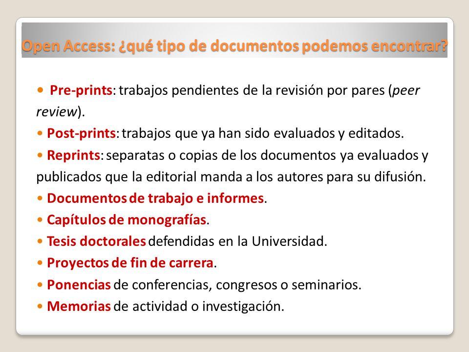 Open Access: ¿qué tipo de documentos podemos encontrar