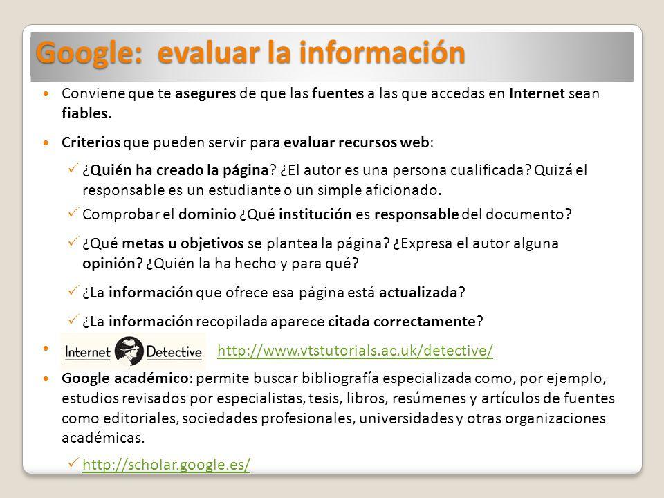 Google: evaluar la información