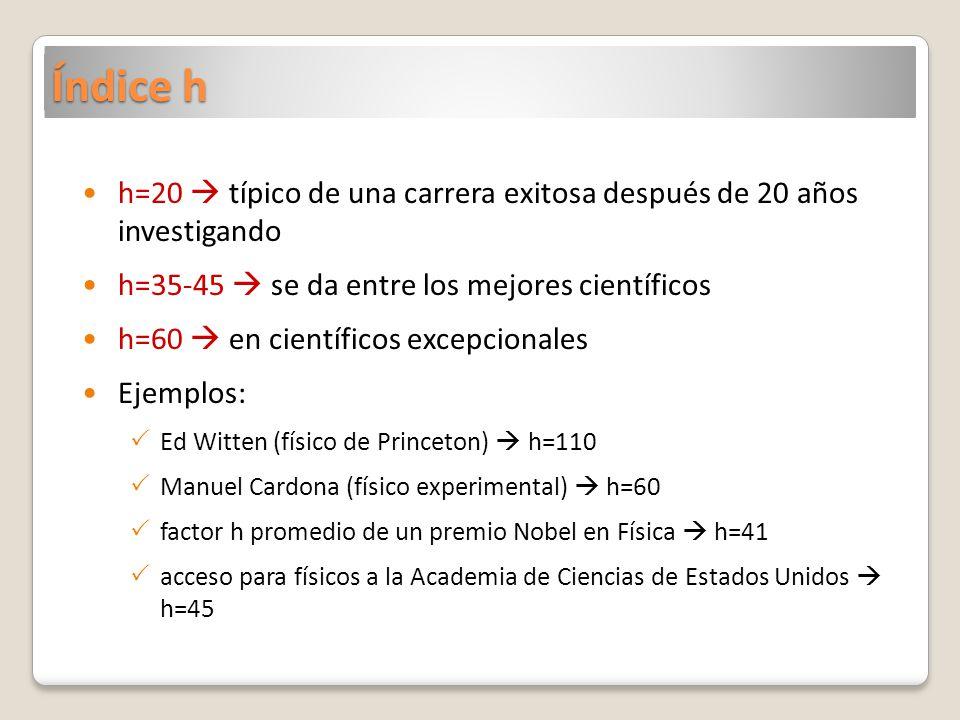 Índice h h=20  típico de una carrera exitosa después de 20 años investigando. h=35-45  se da entre los mejores científicos.