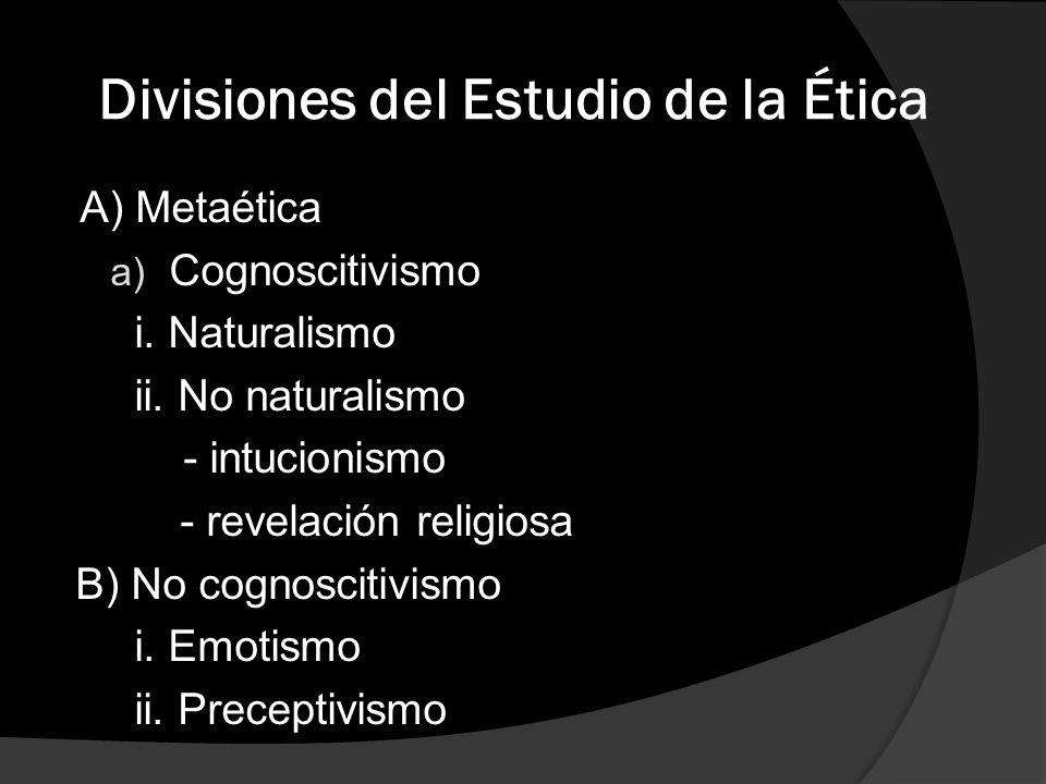 Divisiones del Estudio de la Ética