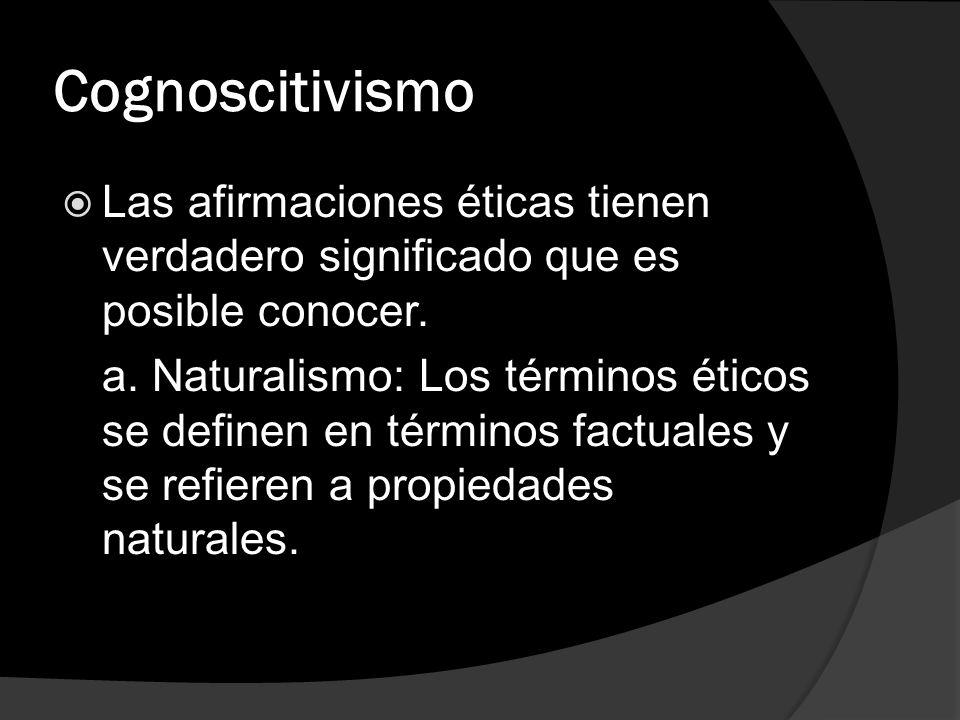 Cognoscitivismo Las afirmaciones éticas tienen verdadero significado que es posible conocer.
