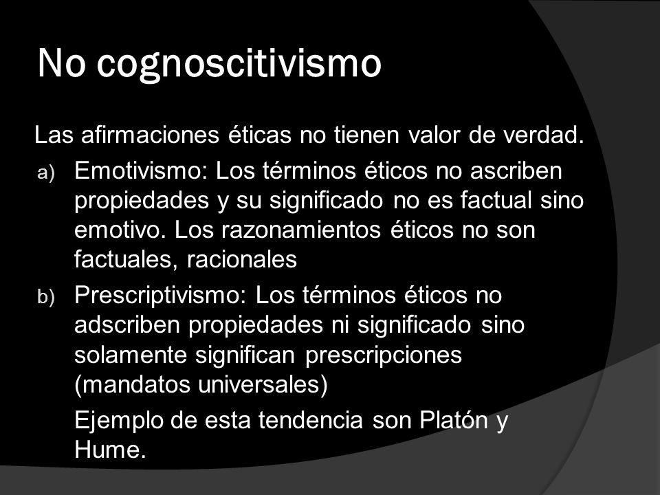 No cognoscitivismo Las afirmaciones éticas no tienen valor de verdad.
