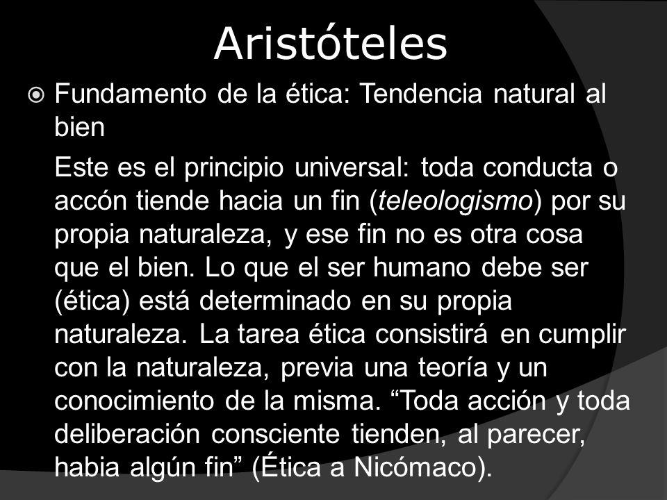 Aristóteles Fundamento de la ética: Tendencia natural al bien