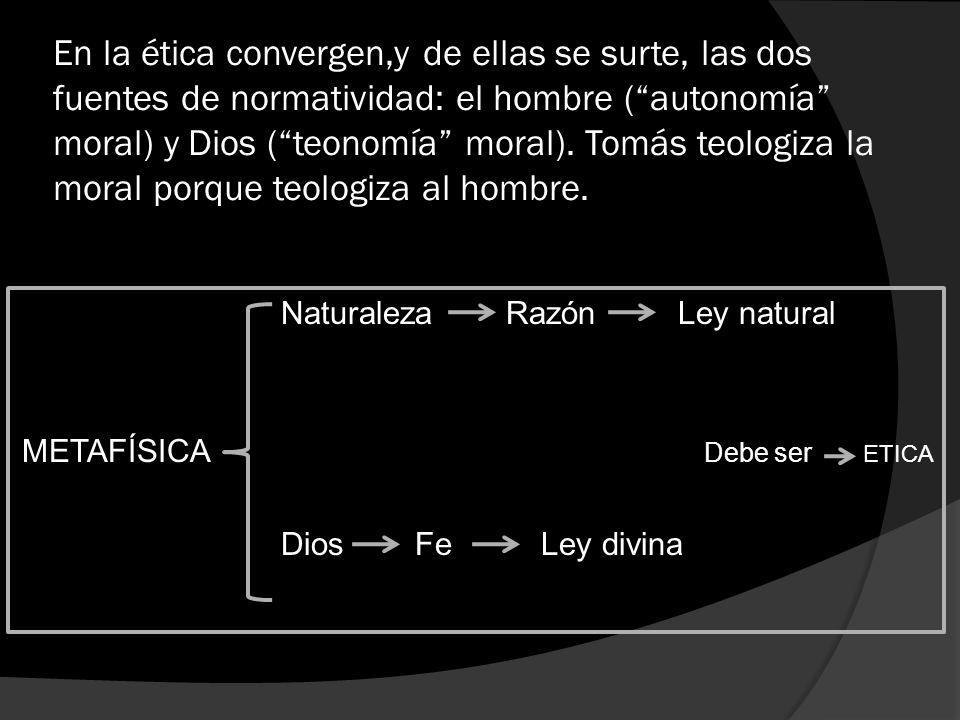 En la ética convergen,y de ellas se surte, las dos fuentes de normatividad: el hombre ( autonomía moral) y Dios ( teonomía moral). Tomás teologiza la moral porque teologiza al hombre.