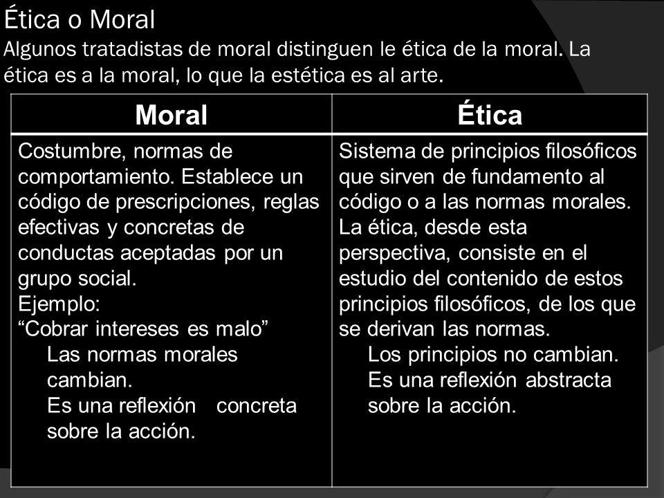 Ética o Moral Algunos tratadistas de moral distinguen le