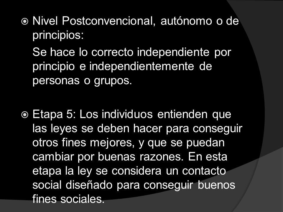 Nivel Postconvencional, autónomo o de principios: