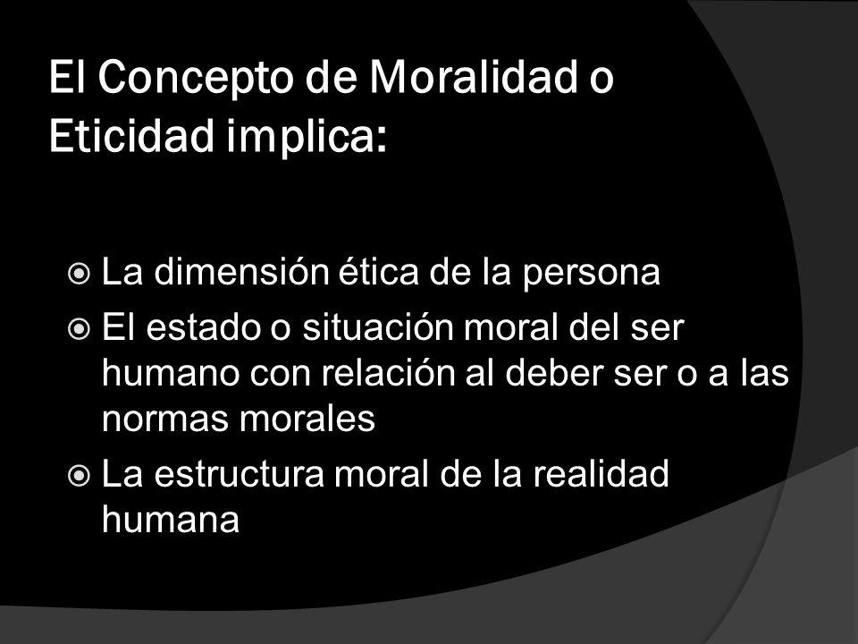 El Concepto de Moralidad o Eticidad implica:
