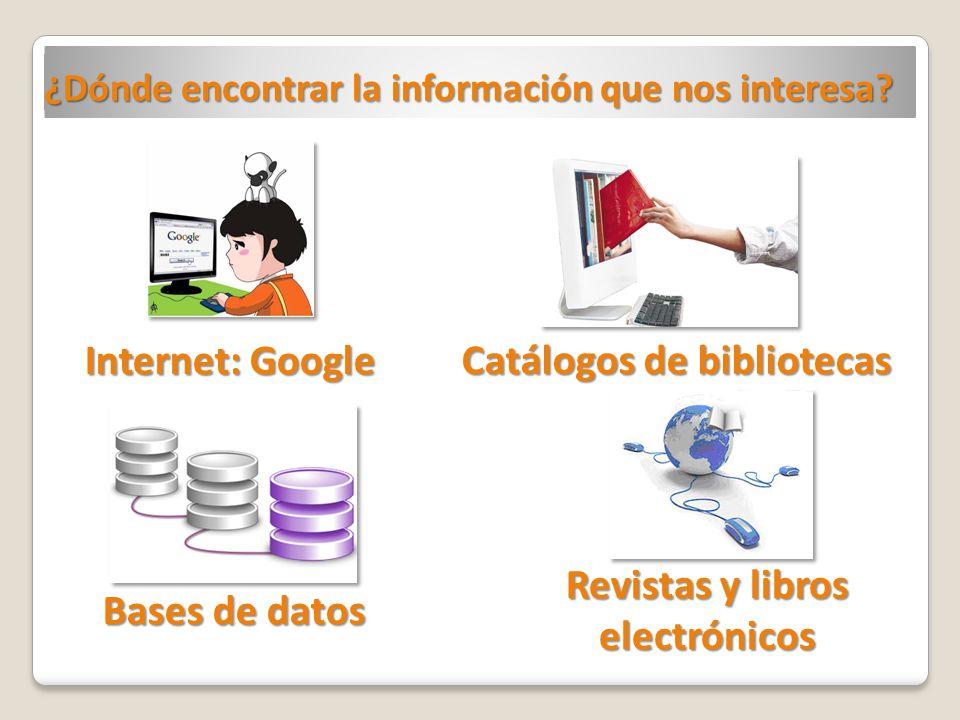 Catálogos de bibliotecas Revistas y libros electrónicos