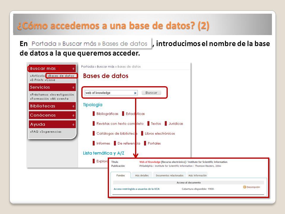 ¿Cómo accedemos a una base de datos (2)