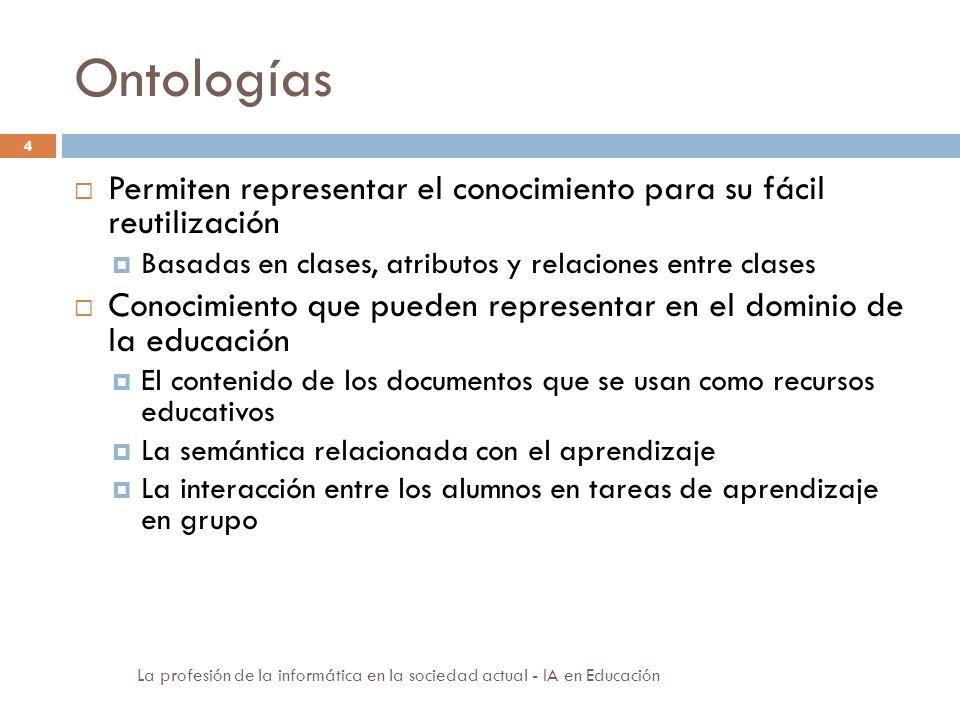 Ontologías Permiten representar el conocimiento para su fácil reutilización. Basadas en clases, atributos y relaciones entre clases.