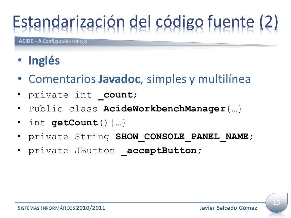 Estandarización del código fuente (2)