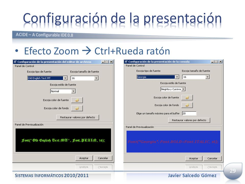 Configuración de la presentación