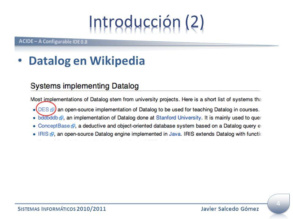 Introducción (2) Datalog en Wikipedia 4