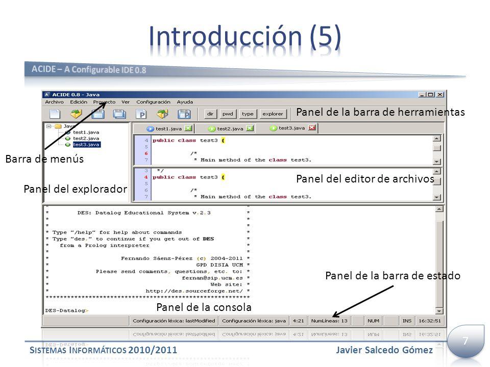 Introducción (5) Panel de la barra de herramientas Barra de menús