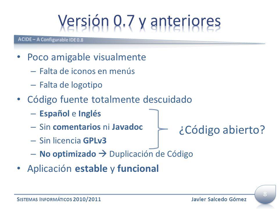 Versión 0.7 y anteriores ¿Código abierto Poco amigable visualmente