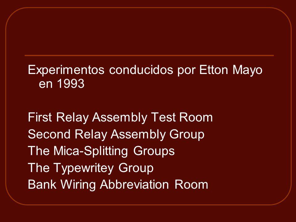 Experimentos conducidos por Etton Mayo en 1993