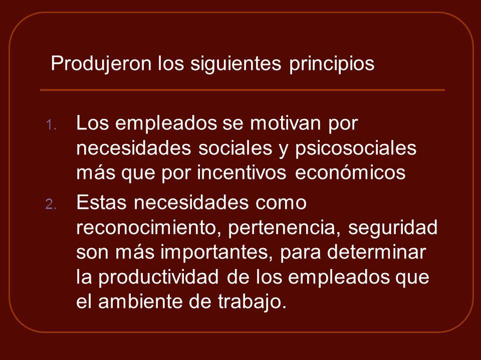 Produjeron los siguientes principios