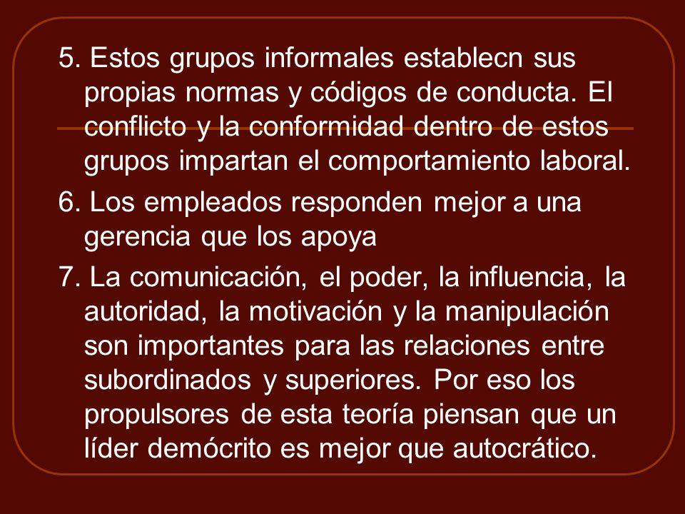 5. Estos grupos informales establecn sus propias normas y códigos de conducta. El conflicto y la conformidad dentro de estos grupos impartan el comportamiento laboral.