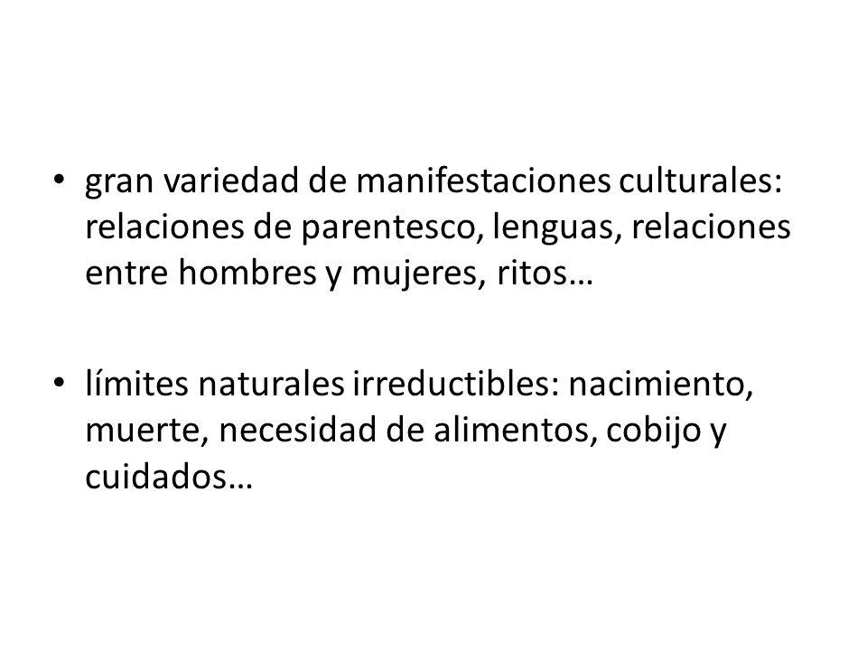 gran variedad de manifestaciones culturales: relaciones de parentesco, lenguas, relaciones entre hombres y mujeres, ritos…