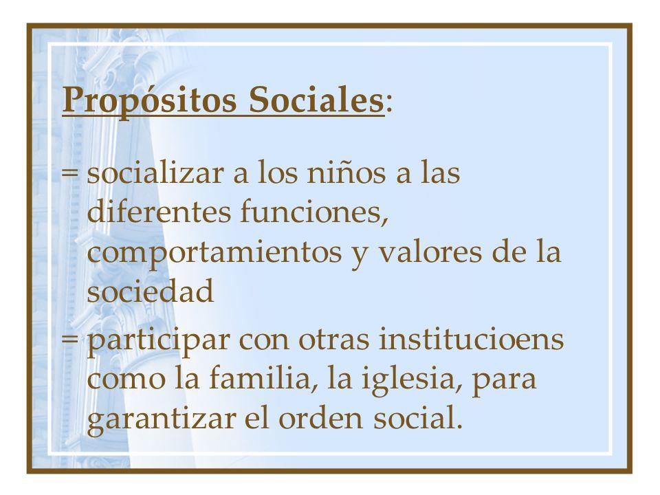 Propósitos Sociales: = socializar a los niños a las diferentes funciones, comportamientos y valores de la sociedad.