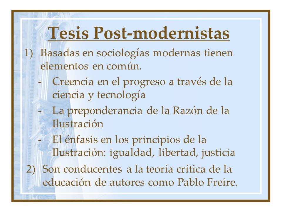 Tesis Post-modernistas