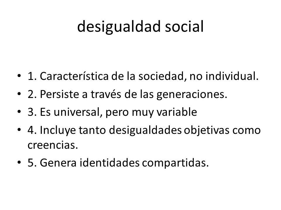 desigualdad social 1. Característica de la sociedad, no individual.
