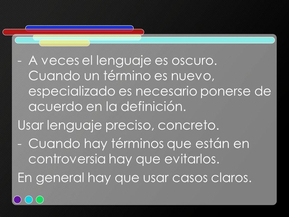 A veces el lenguaje es oscuro