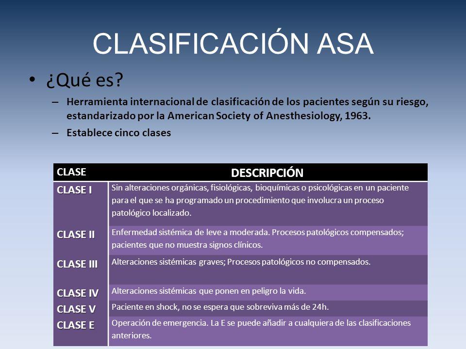 CLASIFICACIÓN ASA ¿Qué es DESCRIPCIÓN