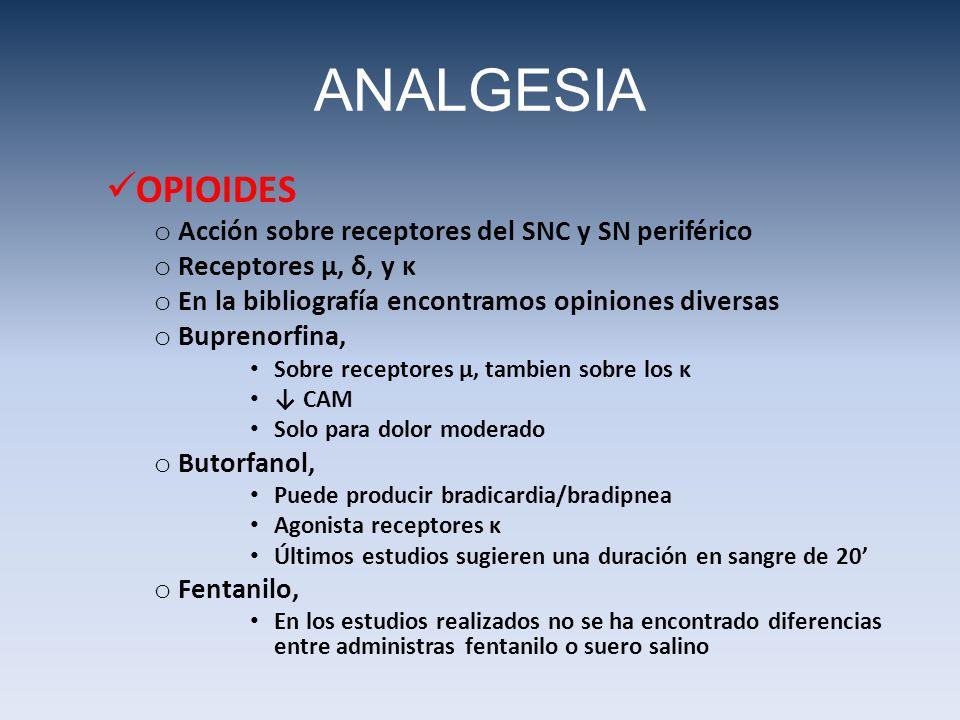 ANALGESIA OPIOIDES Acción sobre receptores del SNC y SN periférico