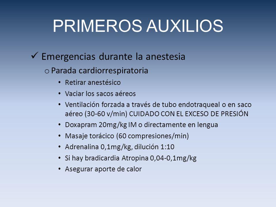 PRIMEROS AUXILIOS Emergencias durante la anestesia