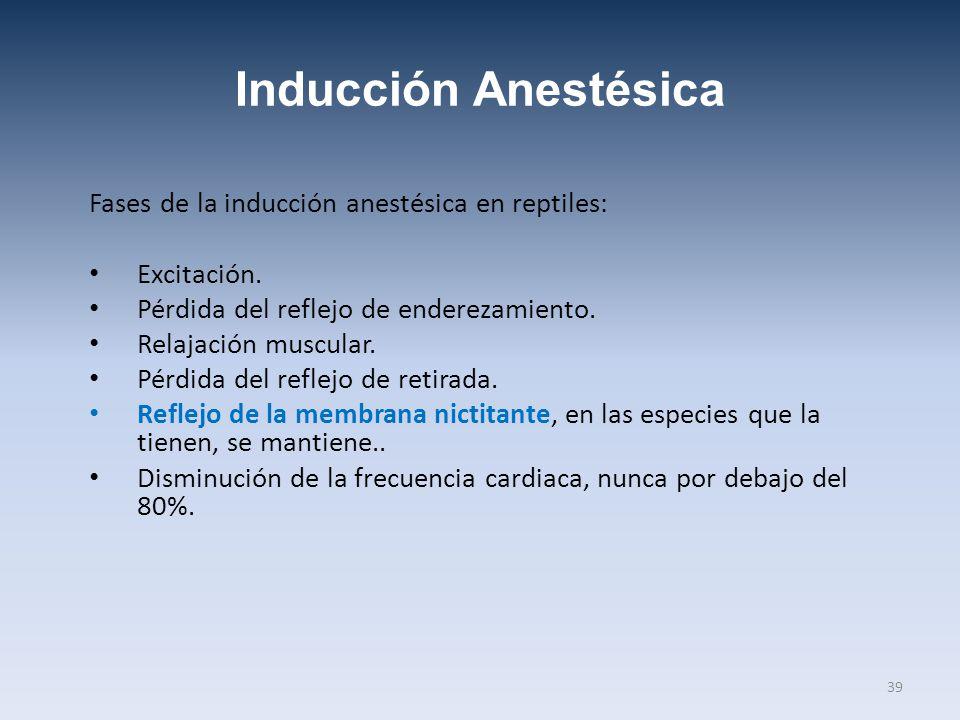 Inducción Anestésica Fases de la inducción anestésica en reptiles: