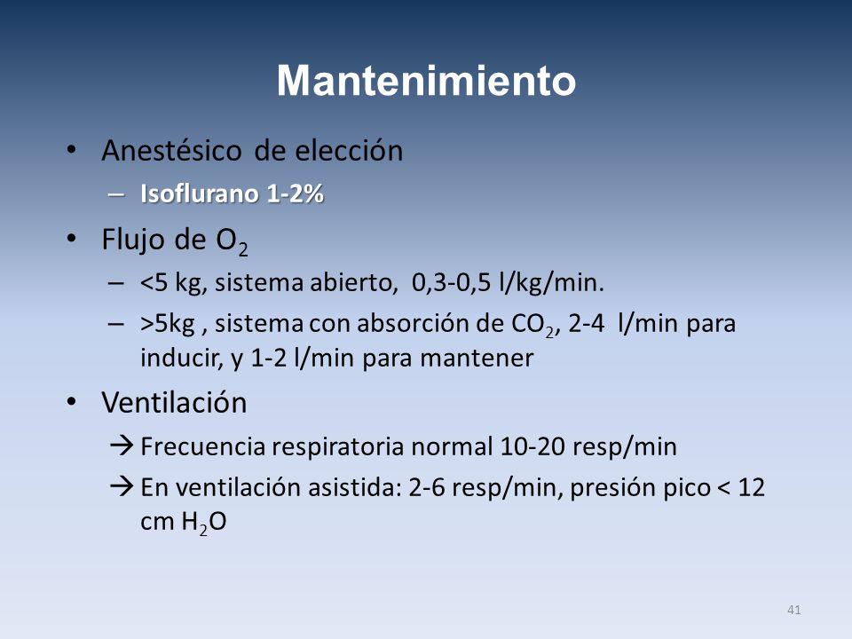 Mantenimiento Anestésico de elección Flujo de O2 Ventilación