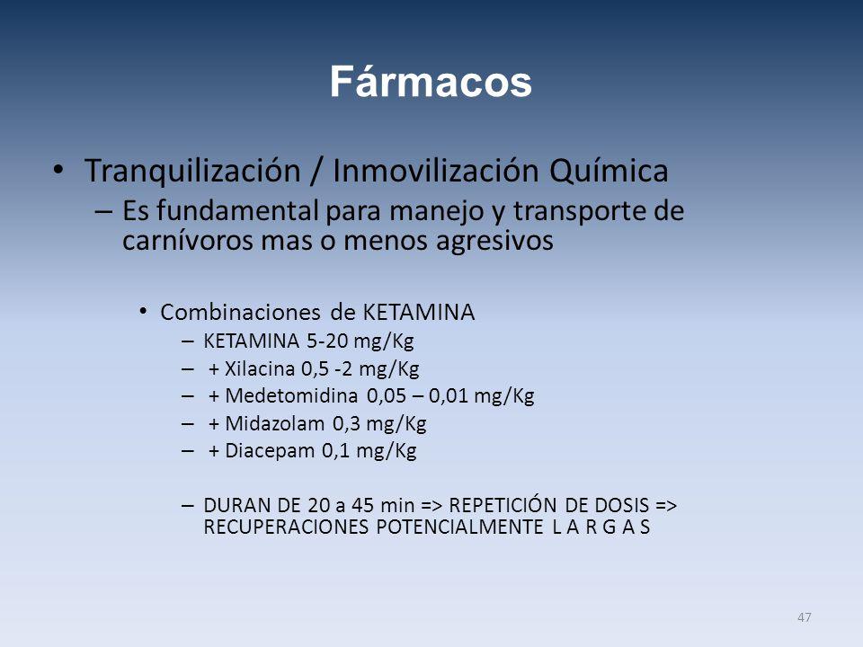 Fármacos Tranquilización / Inmovilización Química