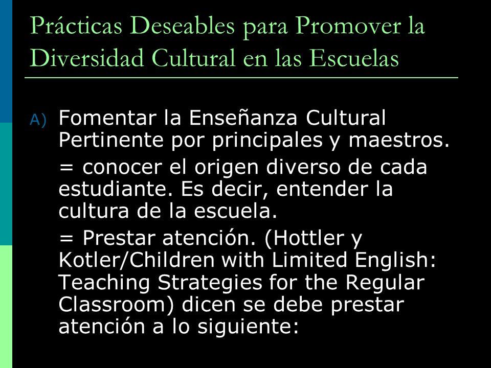 Prácticas Deseables para Promover la Diversidad Cultural en las Escuelas