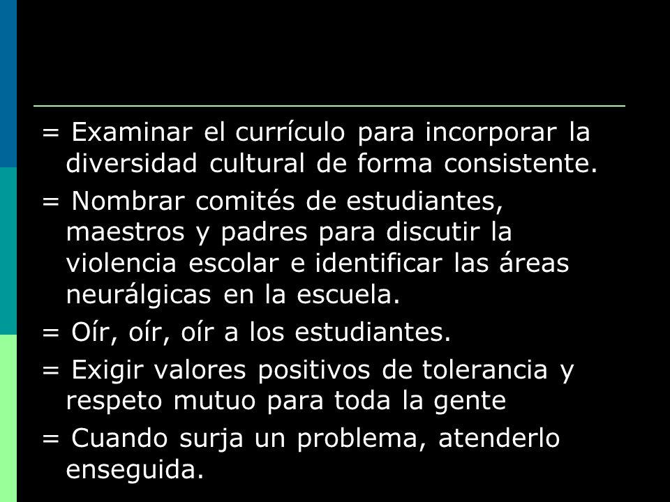 = Examinar el currículo para incorporar la diversidad cultural de forma consistente.