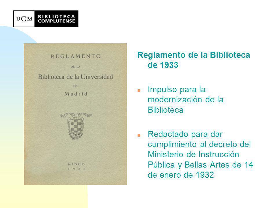 Reglamento de la Biblioteca de 1933