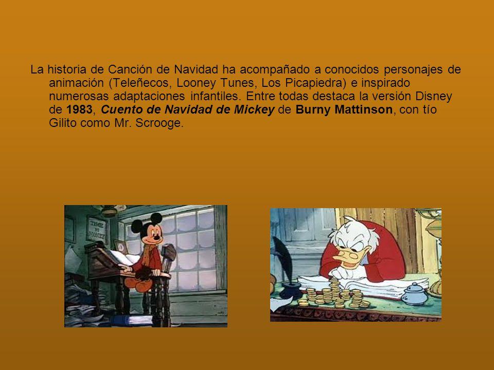La historia de Canción de Navidad ha acompañado a conocidos personajes de animación (Teleñecos, Looney Tunes, Los Picapiedra) e inspirado numerosas adaptaciones infantiles.