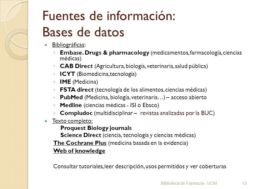 Fuentes de información: Bases de datos