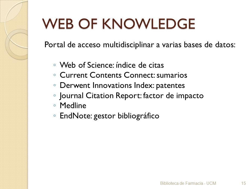 WEB OF KNOWLEDGE Portal de acceso multidisciplinar a varias bases de datos: Web of Science: índice de citas.