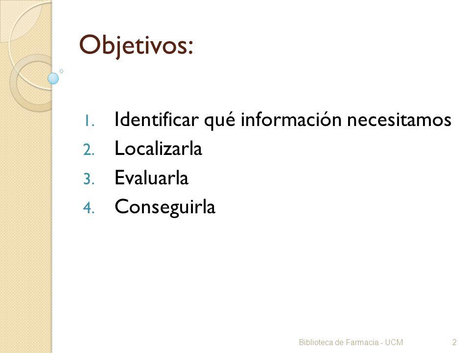 Objetivos: Identificar qué información necesitamos Localizarla