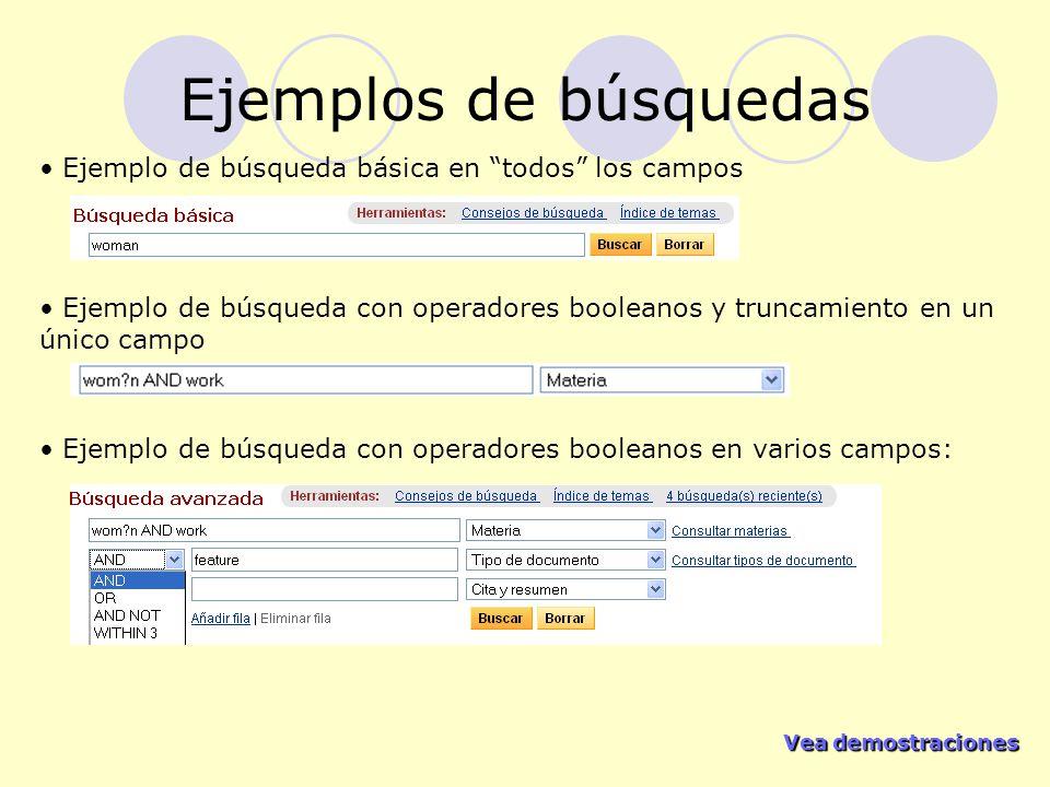 Ejemplos de búsquedas Ejemplo de búsqueda básica en todos los campos