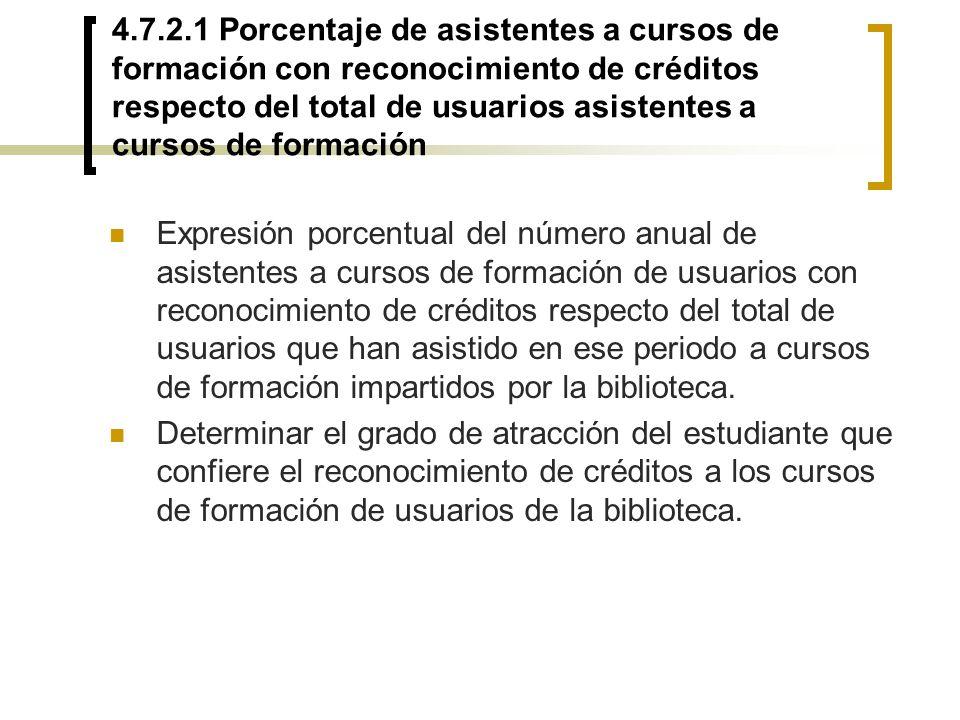 4.7.2.1 Porcentaje de asistentes a cursos de formación con reconocimiento de créditos respecto del total de usuarios asistentes a cursos de formación