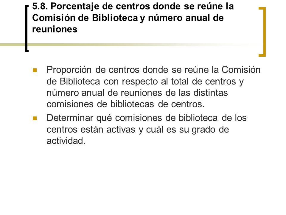 5.8. Porcentaje de centros donde se reúne la Comisión de Biblioteca y número anual de reuniones