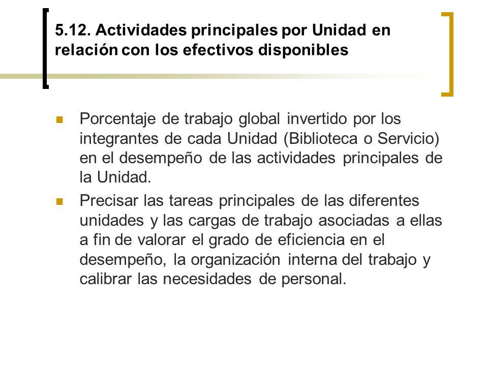 5.12. Actividades principales por Unidad en relación con los efectivos disponibles