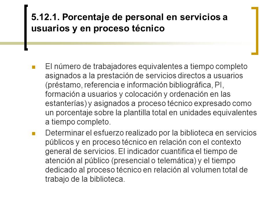 5.12.1. Porcentaje de personal en servicios a usuarios y en proceso técnico