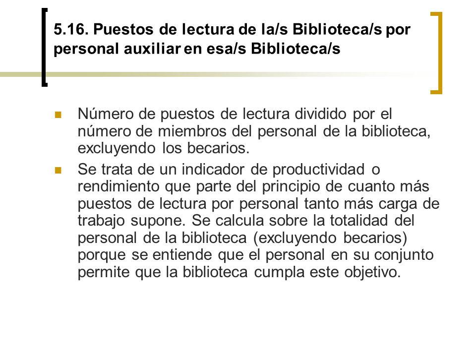 5.16. Puestos de lectura de la/s Biblioteca/s por personal auxiliar en esa/s Biblioteca/s