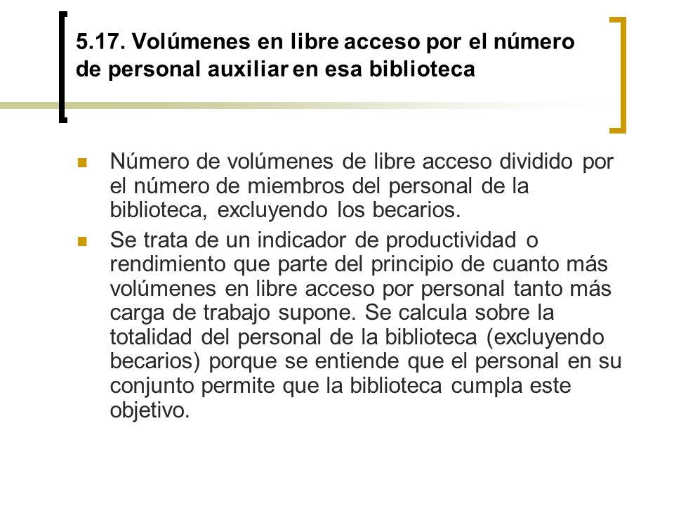 5.17. Volúmenes en libre acceso por el número de personal auxiliar en esa biblioteca